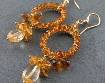 Madeira Citrine earrings, handmade14k gold filled November birthstone earrings- Here Comes the Sun OOAK