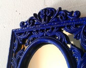 Decorative Wall Mirror in Cobalt Blue Vintage Brass Frame, Blue Home Decor, Decorating Ideas