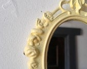 Small Wall Mirror in Vintage Pale Yellow Frame - Revived Vintage