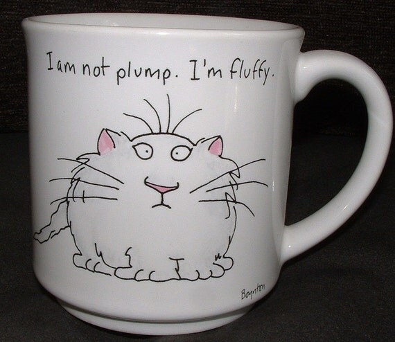Vintage BOYNTON Cat Mug - I am not plump.  I'm fluffy.