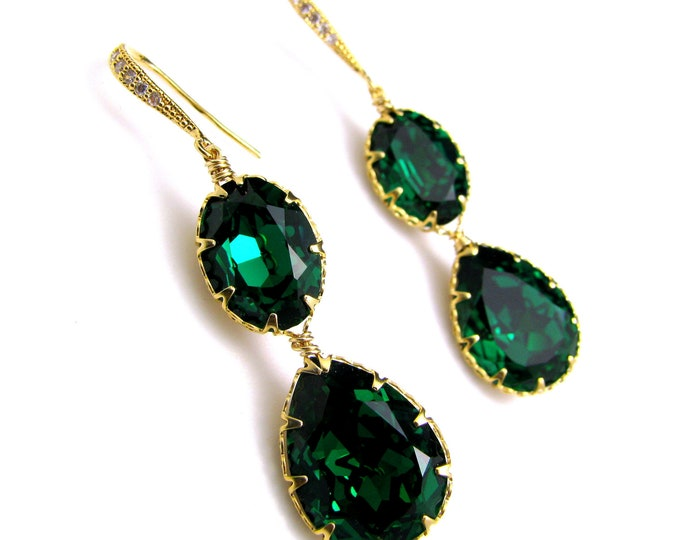 Swarovski emerald green teardrop foiled crystal rhinestone drop with cubic zirconia deco gold vermeil hook - Free US shipping