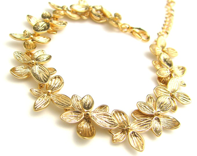 christmas holiday party bracelet Matte textured gold plated metal orchid leaf bracelet - Free US shipping