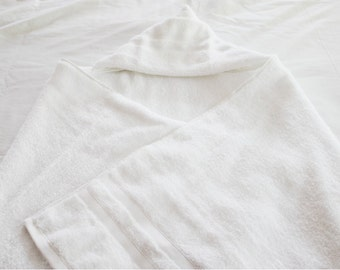 Large Hooded Baby Bath Towel - white