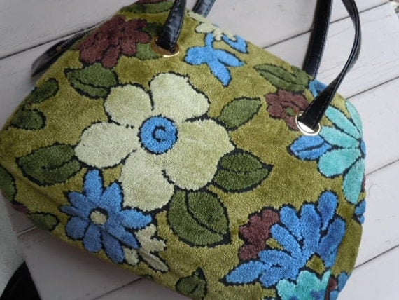 Vintage Purse Plush Chenille Tapestry Style Handbag with Green Blue Floral 1960s Design