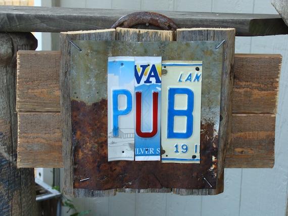 Pub rustic license plate galvenized metal wood fence panel