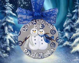 Hand Painted Personalized Couple's Ceramic Ornament