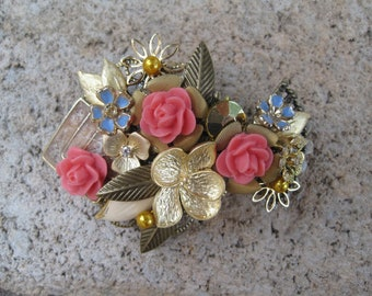 Coral Collage Hair Barrette