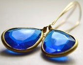 50% OFF CLEARANCE SALE... Rita in Sapphire.... vintage charm earrings....