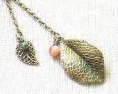 Falling Leaves - A Leaf Lariat Necklace in Antique Gold with Natural Stones