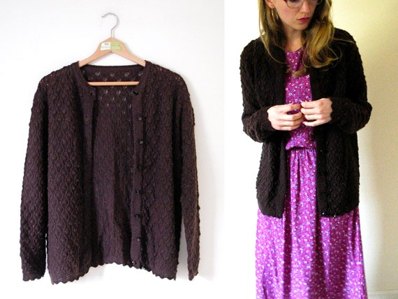 vintage 1960s Sweater Cardigan // Pointelle // Chocolate Brown Button // S/M
