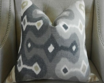 "Decorative Designer Lumbar Pillow Cover - 18""X18"" - Schumacher Darya Ikat in Stone  - Pattern on the front"