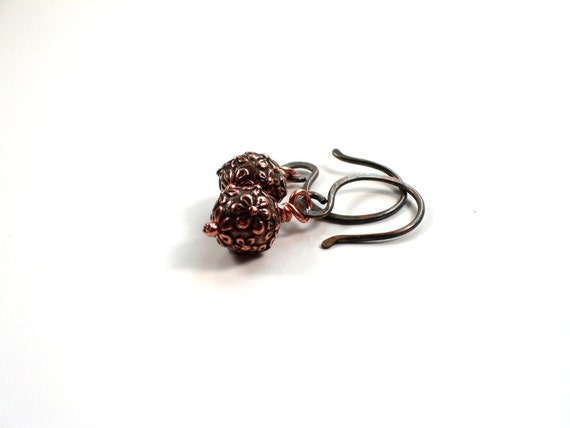 Copper Artisan Earrings. Petite Everyday Metal Jewelry. -VAL