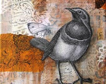 "Bird - a print of an original Mixed Media collage - 8""x 8"""