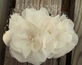 Wedding Fascinator Chiffon double flower bridal fascinator wedding hair clip, freshwater pearls, Swarovski crystals