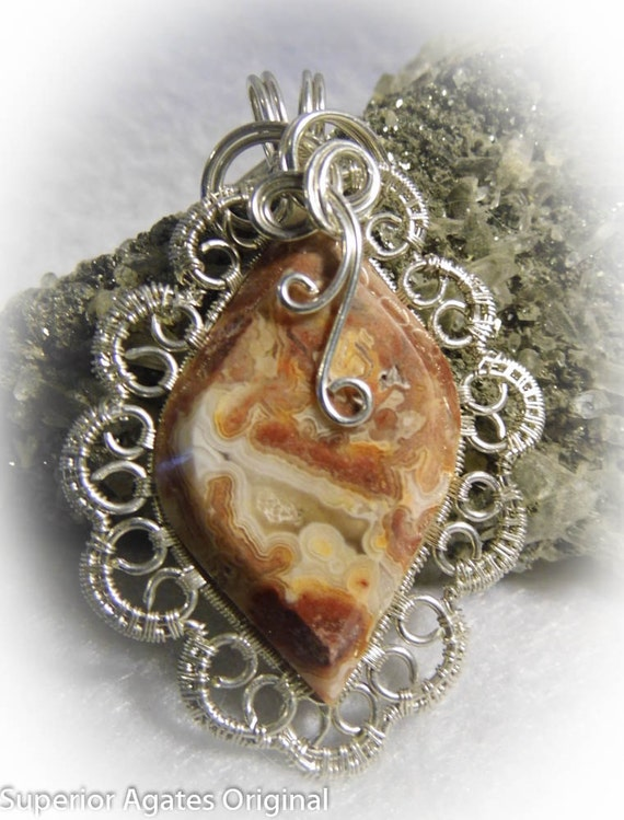 Mexican Crazy Lace Agate Gem Stone Wire Wrapped Pendant