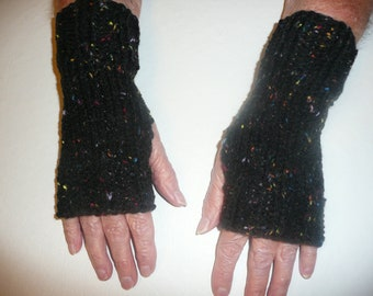 Hand Knit Fingerless Mittens/Texting Gloves - Black Fleck Wrist Warmers- One Size Fits All