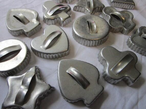 14 vintage aluminim cookie cutters - hearts, spades, clubs, diamonds, circles - scalloped edge