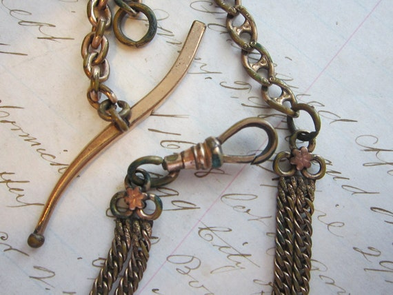 antique victorian watch FOB - ornate, textured chain, lanyard, t-bar