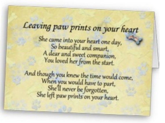 Items Similar To Pet Memorial Paw Prints On Your Heart Pet