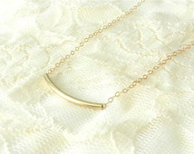 Gold filled curve necklace, curves ahead, modern simple jewelry