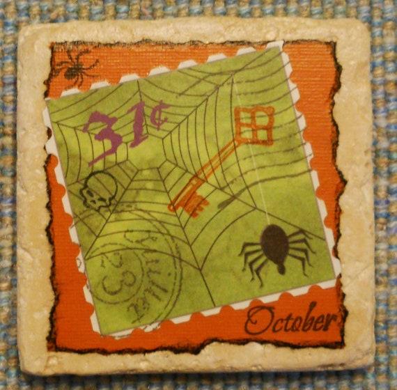 Spider Web Postal Marble Coaster -- Halloween, October, Postal Cancellation, Postage Stamp, Skull, Drink, Decor, Skeleton Key, Orange, Green
