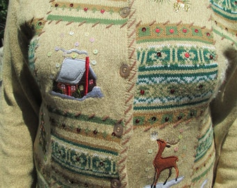 Christmas Sweater, Tacky Sweater, Tacky Holiday Sweater, Vintage sweater, Tacky Christmas Sweater, Ugly Sweater, Knit Sweater