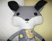 Sweet Plush FOX Woodland Softie in Yellow and Gray