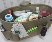 Purse Insert / Diaper Bag ORGANIZER insert / Handles / Stiff Wipe-Clean Bottom / 2 extra options / 14 x 6 x 7H  / You choose color