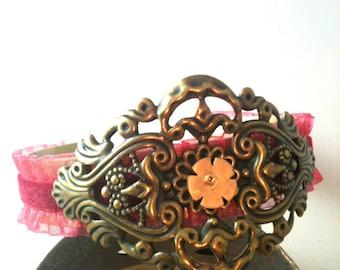 Antiqued Brass Filigree over Victorian Scarlet Ruffle Ribbon Cuff Bracelet