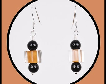 Black Onyx and Acrylic Bead Dangle Earrings