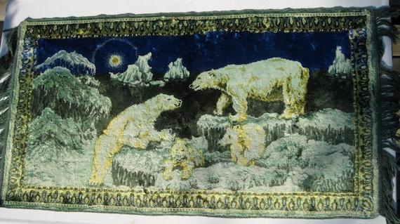 Polar Bear Scene Wall Hanging Velvet Picture Tapestry - Arctic Scene Rug