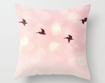 Flying Pelicans,Etsy,16x16,Throw Pillow Cover, Bird Photography,Pink Nursery Decor,Tranquil,Gentle, Soft, Pastel, Surreal, Bokeh, Girls Room