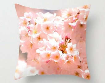 Pink Spring Blossoms, Throw Pillow Cover, Dreamy Cherry Blossom photo, Fine Art Photography, Cottage Garden, Floral Home Decor, Pink Flower