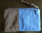 Khaki canvas zippered pouch made from upcycled pants