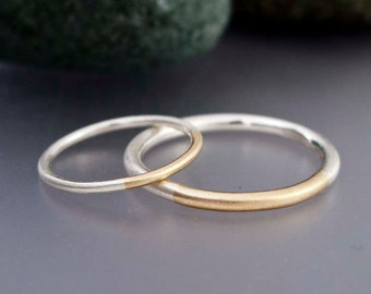 Married 14k Gold and Sterling Silver Rings - Two Tone Round Wedding Band Set, 1.3mm and 2mm widths