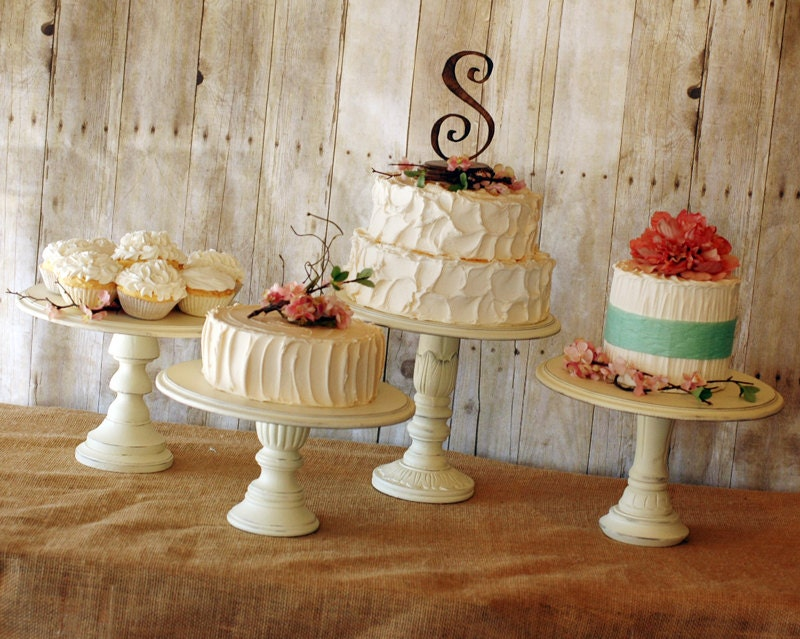 Set Of 3 Rustic Pedestal Serving Cake Stands Any Color
