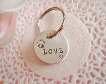 Love Cupcake Stamped Keychain