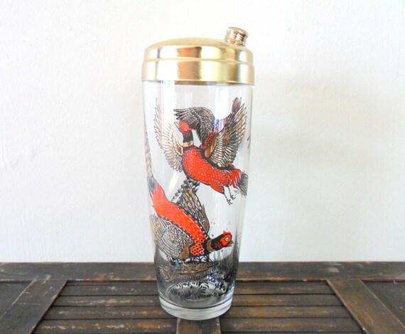mid-century hazel atlas glass pheasant cocktail shaker - for him - hunter