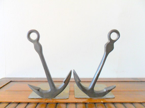 vintage nautical brass anchor bookends - library - gold toned - sea
