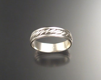 Sterling silver 5mm Cable pattern ring band Wedding Ring made to order in your size