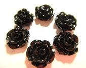 50pcs Resin Rose Flower Cabochon black colors 10mm (no hole)