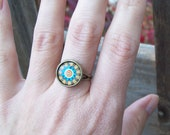 SALE - Mandala ring, Kaleidoscope Yellow and Turquoise Flower Burst  Ring - Adjustable hippie ring
