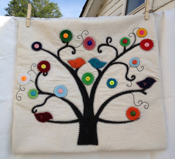 Hand Painted Tree Pillow Cover By CatalinaObando On Etsy Unique Hand Painted Pillow Covers
