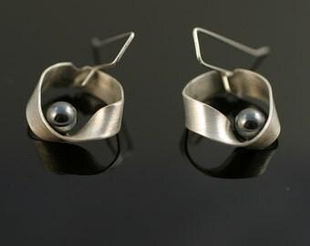 Mobius Strip Earrings - Hematite
