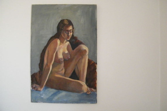 Large Vintage Painting Of Seated Nude Woman Wrapped In Fur Coat Blues