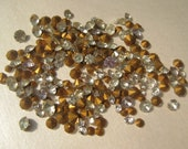 SALE - Take 20% Off - 200 plus Loose Vintage clear Glass foil backed Rhinestones - mixed sizes, 10 grams