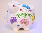 Personalized Piggy Bank Polka Dot Butterflies