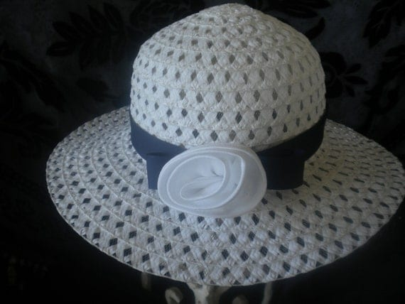 Child's dress hat -white and navy blue - Church hats -Easter -weddings- tea party -social events