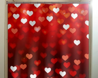 Valentines Day Romantic Love Hearts Red Shower Curtain Fabric Extra Long Window Panel Kids