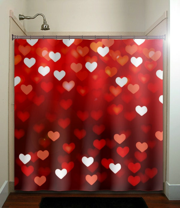 🔎zoom - Valentines Day Romantic Love Hearts Red Shower Curtain
